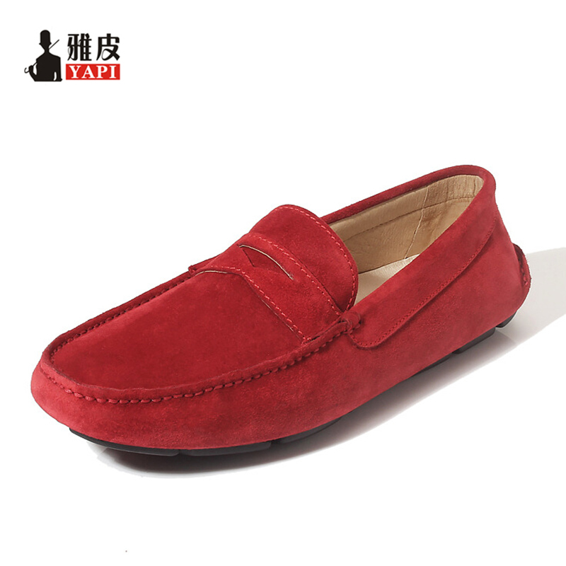 US 6-10 Hight Quality Cow Suede Leather Casual Slip On Loafer Business Man Driving Shoes Fashion Lazy Mens Boat Shoes pl us size 38 47 handmade genuine leather mens shoes casual men loafers fashion breathable driving shoes slip on moccasins