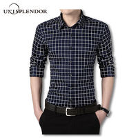 2018 Fashion Men Spring Shirt Slim Fit Plaid Men Shirts Long Sleeve Cotton Dress Shirts Casual