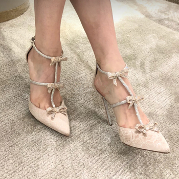 Kmeioo Sweet Wedding Shoes Butterfly-knot Jewel Sandals Pointed Toe High Heels Cut-Outs Thin Heels Ankle Strap Shoes For Evening