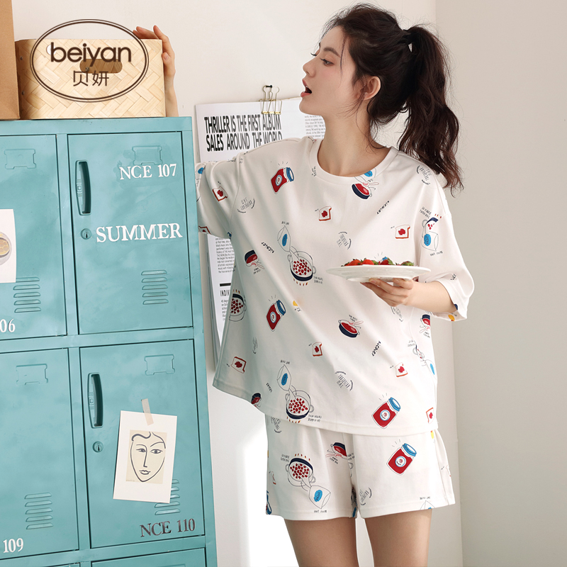 Summer Shorts Sleeve In Summer Thin Fresh Sleepwear Cotton Household Leisure   Pajamas     Set