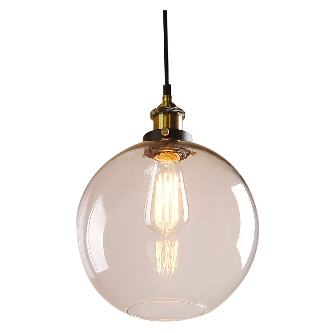 DSHA Hot Sale Modern Industrial Metal Glass Loft Pendant Lamp Retro Vintage Lamp(Antique head diameter 25cm)