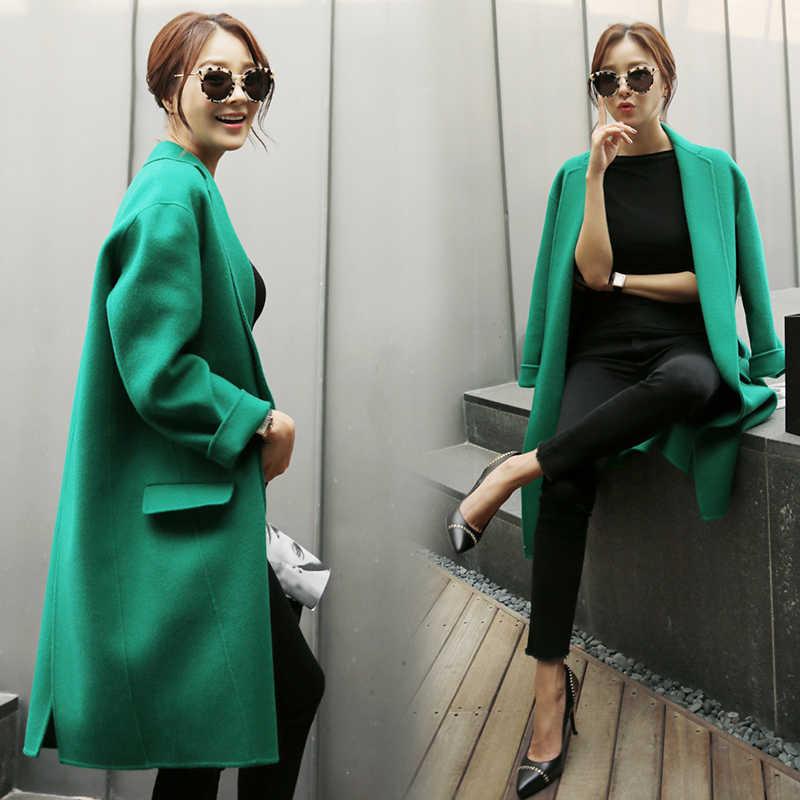 2018 neue Koreanische frauen Wolle Mantel Frühling Winter Grün Jacke Lose Lange Kokon Woolen Mantel Weibliche Große Größe Frauen mantel Kaschmir