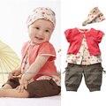 Маленькая девочка 3 шт. комплект цветок боди и раффлед короткие брюки, Повязка на голову с бантом, Короткие футболки одежда, Футболка + волос группа + брюки