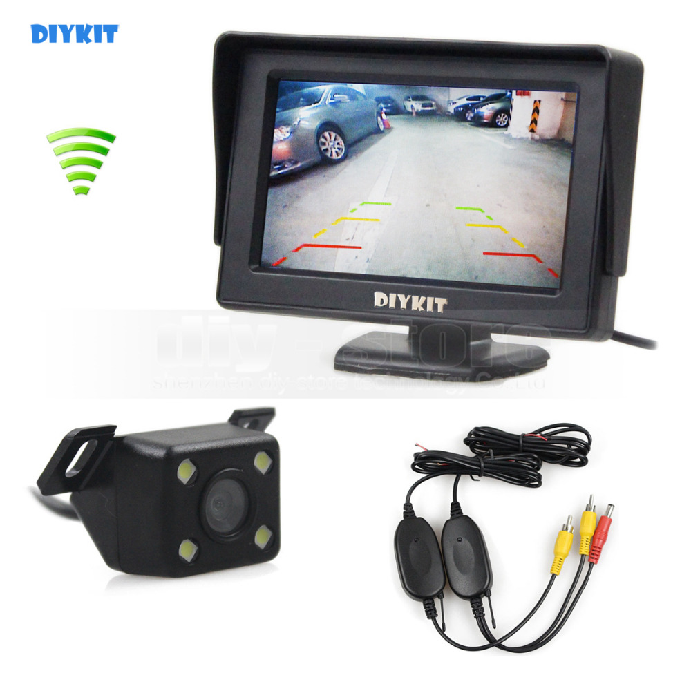DIYKIT Wireless 4 3 Inch TFT LCD Car Monitor LED Night Vision Rear View Car font