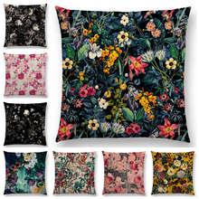 Gran oferta NOCHE NEGRA Jardín Botánico de bosque Vintage sueño futuro flores coloridas hojas impresiones funda de cojín sofá almohada