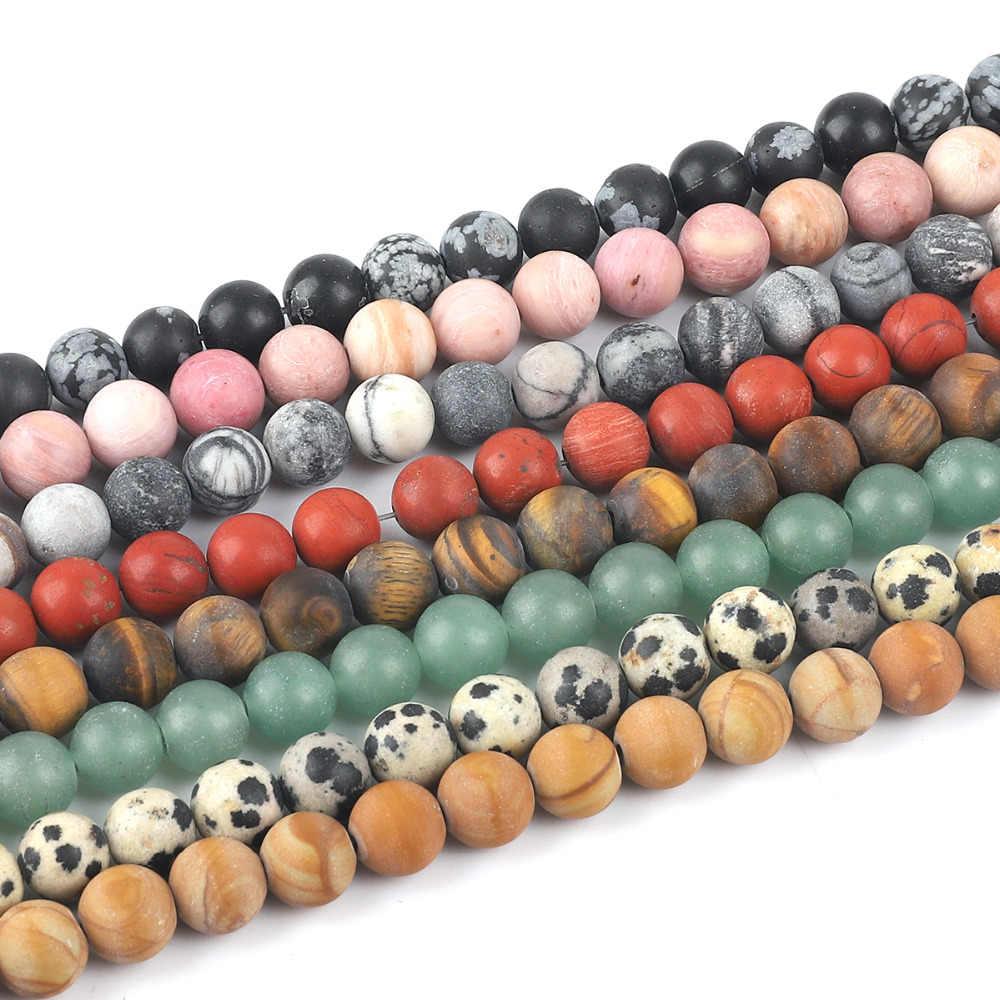 4 6 8 10mm Matt Natürliche Stein Perlen Matte Rose Rosa Quarz Onyx Achate Lose Runde Perlen Für DIY schmuck Machen