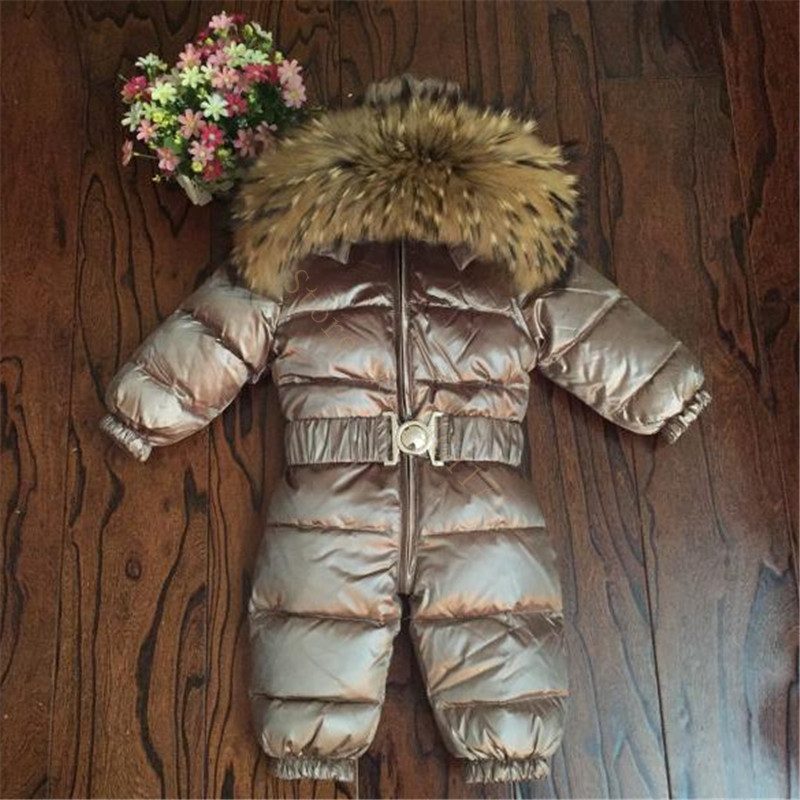 Baby Winter Jumpsuit Overalls 90% Duck Down Real Fur Rompers Kids Outerwear Coat For Toddler Baby Boys Girls 0-5 Y Snowsuit(China)