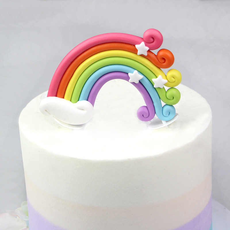 WEIGAO Rainbow Cake Toppers Birthday Cupcake Flags Cloud Egg Shape Kids Baby Shower