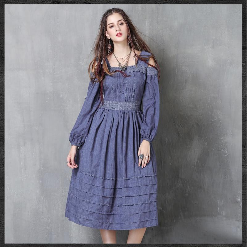 2018 Irinaw424 Arrivée Dentelle Longues Nouvelle Femmes Patchwork Vintage Robe Encolure Manches odCeEQWrxB