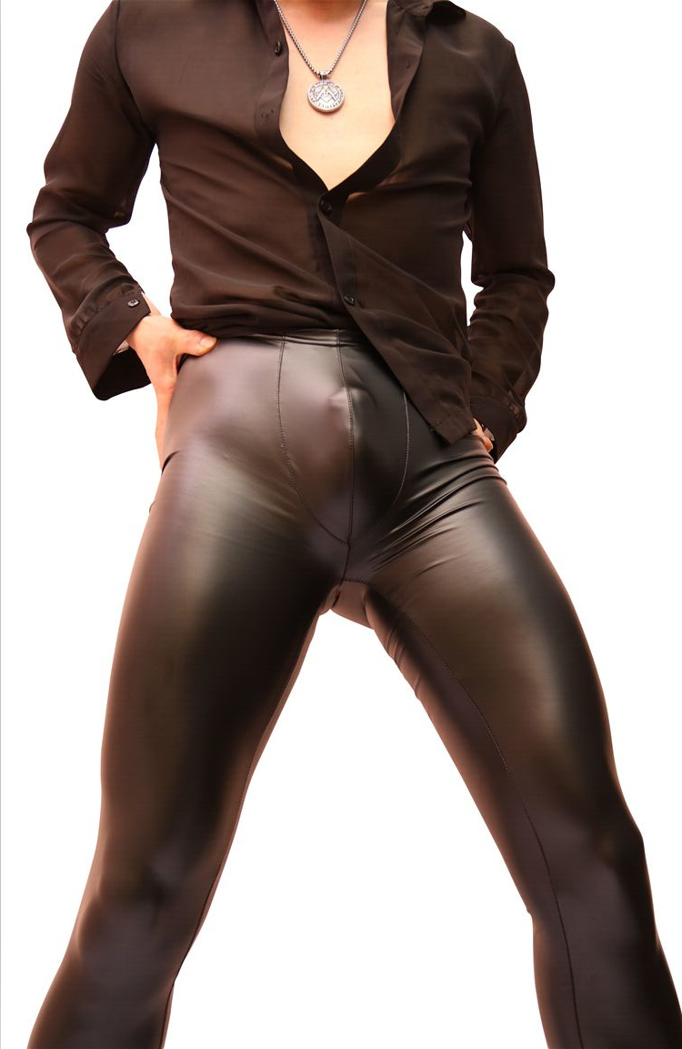 Sexy Men Stage Dance Wear Faux Leather Pencil Pants Skinny -2028