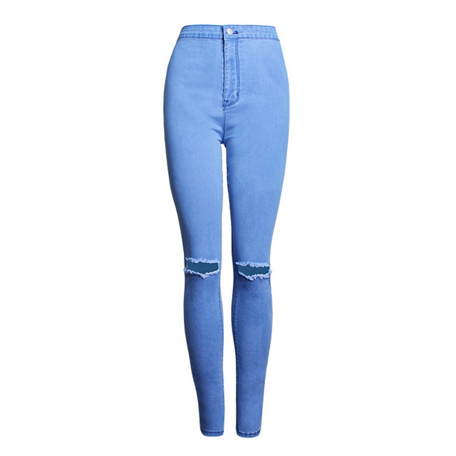 New Womens Ripped Jeans Vintage High Waist Skinny Pencil Jeans Femme Sexy  Butt Lift Stretchy Jeans Woman Slim Fit Denim Pants cee0c5d849