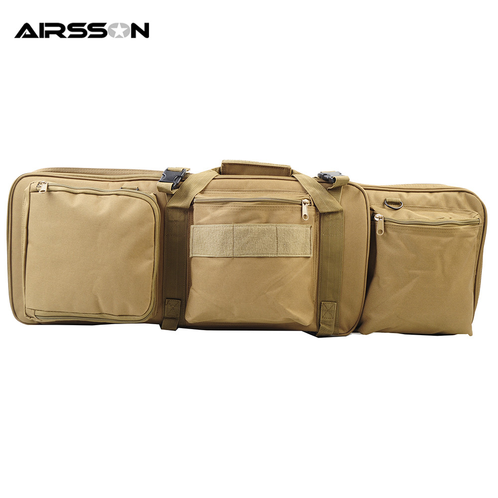 Airsson 85CM Tactical Rifle Gun Bag With Shoulder Strap for M4 Airsoft Hunting Protecting Rifle Gun Equipment Tools Pouch Tan 47 folding fishing rod bag tactical duel rifle gun carry bag with shoulder strap outdoor fishing hunting gear accessory bag