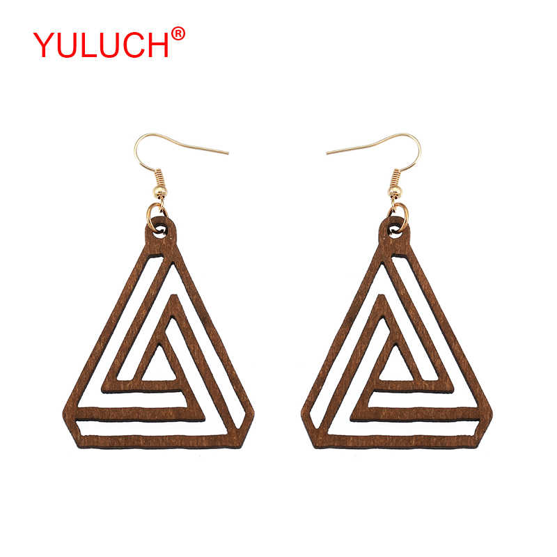 YULUCH Popular ethnic retro woman jewelry accessories handmade wooden triangle hollow loop pendant party earrings gift