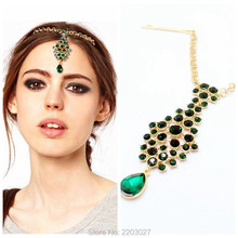 Bohemia Ethnic Rhinestone Crystal Hair Pins Women Accessories Gold Emerald Hair Clips Forehead Hair Jewelry