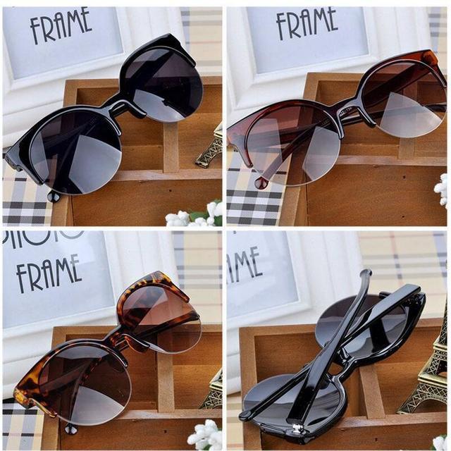 Alta qualidade 2017 new moda retro designer super rodada círculo óculos cat eye semi-aro dos óculos de sol das mulheres óculos óculos de proteção