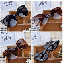Высокое Качество 2017 New Мода Ретро Дизайнер Супер Круглый Круг Очки Cat Eye Полуободковые женские Солнцезащитные Очки очки