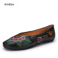 Artdiya 2018 Spring New National Wind Retro Genuine Leather Embroidered Women Shoes Handmade Flat Shallow Mouth