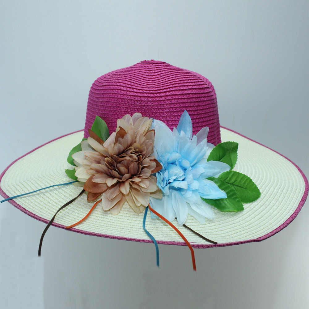 Nuevo sombrero de paja mujer Color Hit flor Artificial tejido sombrero de ala ancha sol 2019 verano viaje playa señoras sombrero de playa