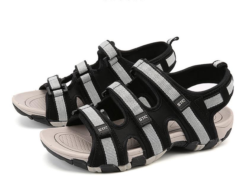 Summer Men Sandals Hook&loop Men's Summer Shoes 2018 Fashion Waterproof Casual Beach Shoes Size:39-44 Black 3