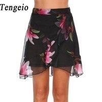 Tengeio Summer Bohemian Women High Waist Chiffon Floral Skirt Mini Front Split Ruffles Pleated Skirt Jupe
