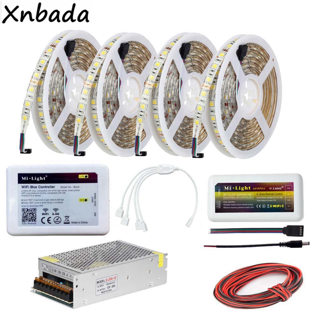 Milight Wifi Ibox2 Led Controller Color Temperature SMD5050 CT Led Flexible Strip 1 To 2/3/4 4Pin Accessories Power Driver KitMilight Wifi Ibox2 Led Controller Color Temperature SMD5050 CT Led Flexible Strip 1 To 2/3/4 4Pin Accessories Power Driver Kit