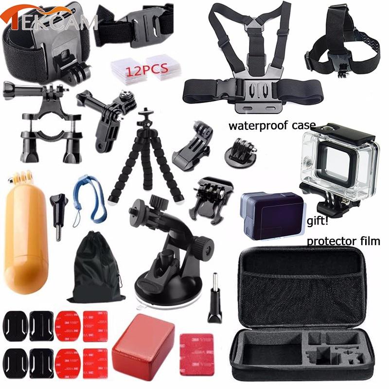 Tekcam accessoires ensembles pour go pro 5/6 gopro hero 5 étui étanche pour go pro hero 5/6 noir trépied monture caméra sangle sac