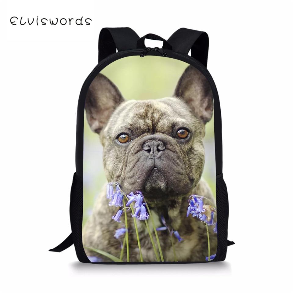 ELVISWORDS Kids School Bags Kawaii Animal DesignTravel Backpack Little Cute Bulldogs Prints Pattern Toddler Boys
