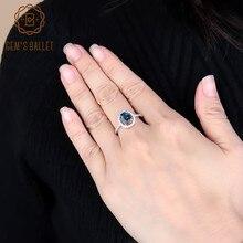 Klejnotu balet 1.58Ct sen naturalne londyński niebieski topaz pierścienie z kamieniami szlachetnymi kobiet w porządku biżuteria 925 Sterling Silver Trendy pierścionki