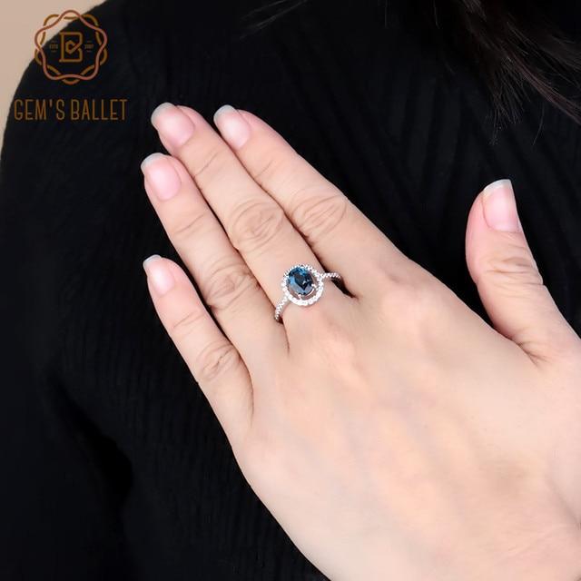 Mücevher bale 1.58Ct rüya doğal londra mavi topaz taş yüzükler kadınlar güzel takı 925 ayar gümüş moda yüzük
