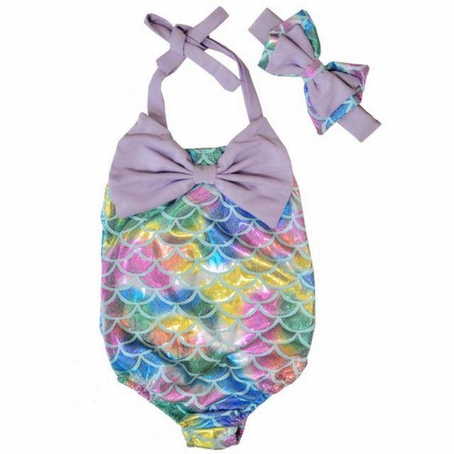 Swimwear Baby Summer Kids Girls Swimsuit Sleeveless Bow Bathing