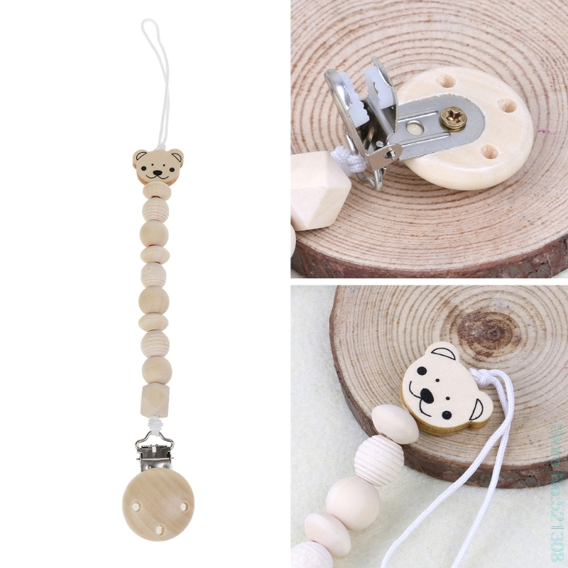 Baby Dummy Chain Wood Pacifier Clip Bear Head Bead Dummy Clip Infant Teether Toy Drop Shipping