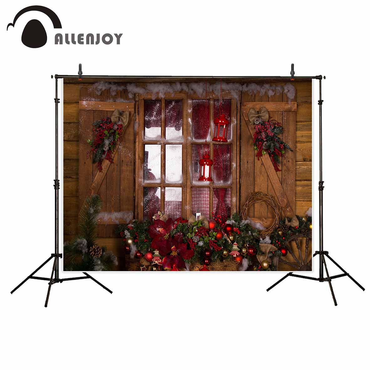 Allenjoy photography backdrop Wood windows Christmas decorations Pine nuts background photo studio new design camera fotografica christmas backdrop photography allenjoy snowflake stars blur background photographic studio children s camera digital printing