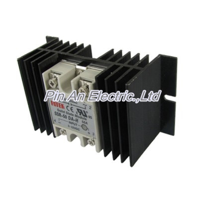 DC-AC Single Phase Solid state relay SSR-50DA-H 50A 3-32V 90-480V w heat sink ssr mgr 1 d4860 meike er normally open type single phase solid state relay 60a dc ac