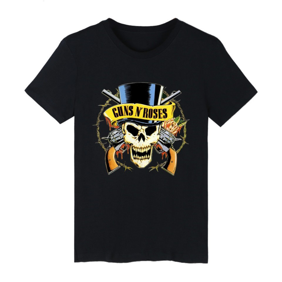 High Quality Customized GUNS N ROSES Black Punk Summer Cotton T-shirt Men Short Sleeve TShirt and T Shirt Men Hip Hop