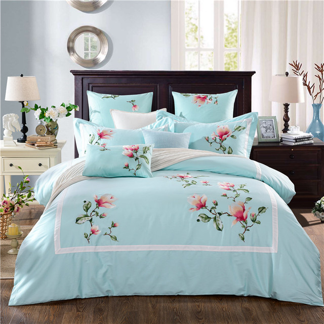 Light Blue Orchid 60S Long Staple Cotton Satin Jacquard Embroidery Bedding  Set Duvet Cover Bed Linen