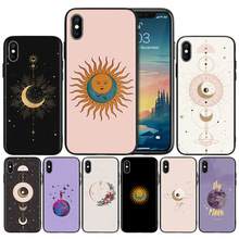 Gold moon and Sun Aesthetic wallpapers Soft TPU Black Silicone Case Cover for iPhone 7 8 XS Max XR X 6 6S 5 5C 5S SE Plus