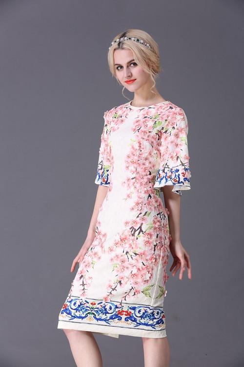 XXXXL Women Plus Size Dress 2017 Spring Women Appliques Floral Print Flare  Sleeve Elegants Party Boutique Shop Designer Dresses-in Dresses from Women s  ... 381e15478227