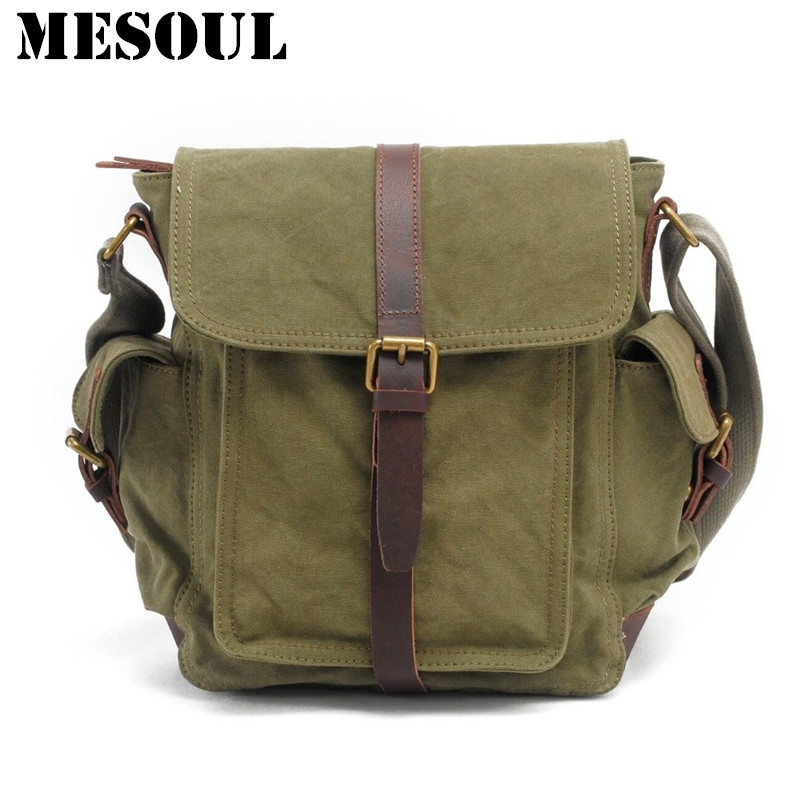 Men's Vintage Crossbody Bag Military Canvas Shoulder bag Satchel Brand Design Casual Tote Army green Travel Male Messenger Bags