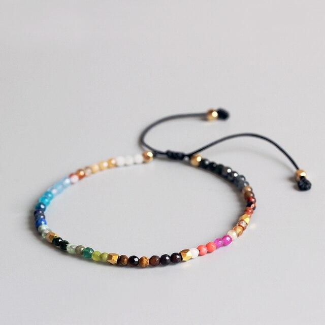 Eastisan 12 Constellation Lucky Stone Simple Bracelet 3mm Beads Adjule Hollywood Beaded Bohemia Bracelets Uni