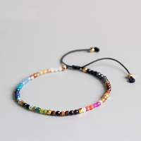 Eastisan 12 Constellation Lucky Stone Simple Bracelet 3mm Beads Adjustable Bracelet Hollywood Beaded Bohemia Bracelets Unisex
