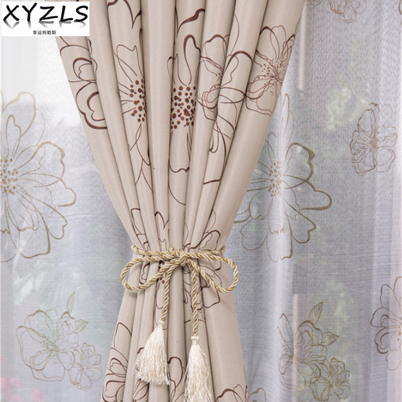 XYZLS Luxury Rich Flower Blind Blackout Curtains and Tulle Curtain for kitchen Living Room