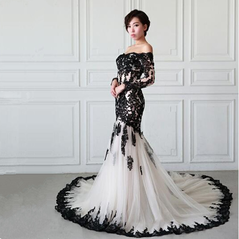 Vinca sunny Fashion Black Appliques Long Sleeve   Evening     Dresses   Mermaid V Neck Luxury Arabic Lace   Evening   Gowns   Dresses   Formal