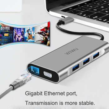 WIWU 10 in 1 USB Hub for MacBook USB C to HDMI/VGA/RJ45 Thunderbolt 3 Adapter for Dell/Samsung/Huawei P20 Pro Type-c USB 3.0 Hub