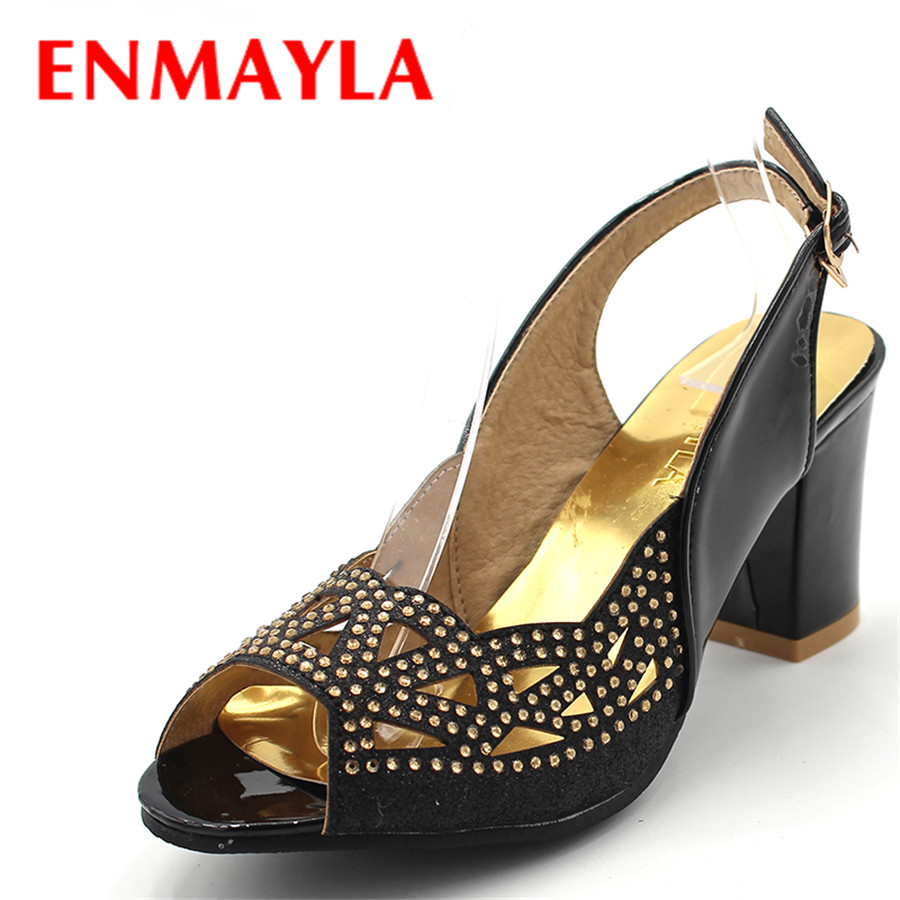 ENMAYLA Summer Crystal Slip-on Chunky Heels Sandals Women Classic Peep Toe High Heels Pumps Designed For Women Shoes Size 34-47 summer 2016 nigerian shoes and matching bags pink leather high heels fringed peep toe sandals eur33 43 womens dress shoes chunky