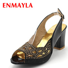 ENMAYLA Summer Crystal Slip-on Chunky Heels Sandals Women Classic Peep Toe High Heels Pumps Designed For Women Shoes Size 34-47