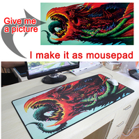 Mairuige Customize Any Size Black Gaming Mouse Pad Large Personality Mouse Pad Thickening Desk Pad Keyboard Pad with Lock Edge
