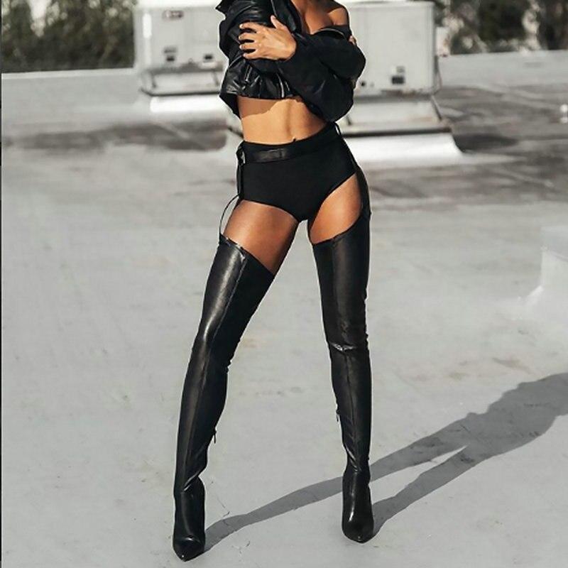 Femme Haute Cuissardes Talons Pu Chaussures Sianie Noir Cm Taille Boucle Bottes 10 Style Mince Club Rihanna Sangle Tianie Sexy Overknee Rq1TI
