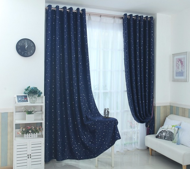 Navy Blue Star Curtains For Kids Room Lovely Printed Boys Bedroom Baby Window D 123 30