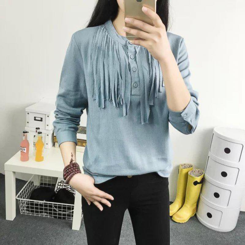 a27a0228a Mulheres Camisetas de Manga Longa Azul Branco Tops Gola Cotton Moda Slim  Sólidos Tassel Ladies Tees Camisa Femme Alta Qualidade