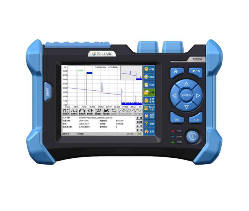 G LINK Handheld OTDR TR600 SM OTDR 1310/1550nm, 32/30dB,Integrated VFL, Touch Screen Optical Time Domain Reflectometers BY DHL